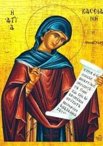 """In the hymn of Kassiani, she """"gives a """"voice"""" to the repentant woman weeping at Christ's feet (see Matthew 26:6-16). Not only this, but she gives a """"voice"""" or more precisely, a prayer, to all who also wish to come in repentance to the Lord. It is not a voice of individualism, feminism, or of carnal pride and power, but a voice and prayer which calls people together in communal repentance."""""""