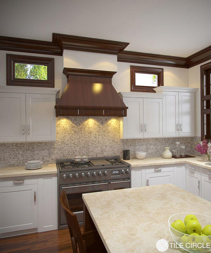 Marble Mosaic Backsplash Tile. Added Luxury In This Large Kitchen.  Www.tilecircle.