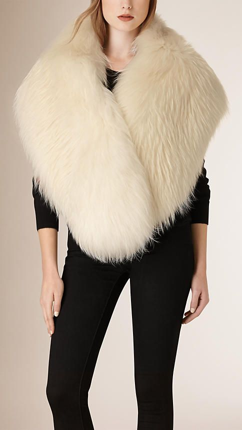 Ivory Raccoon Fur Stole ~ Burberry