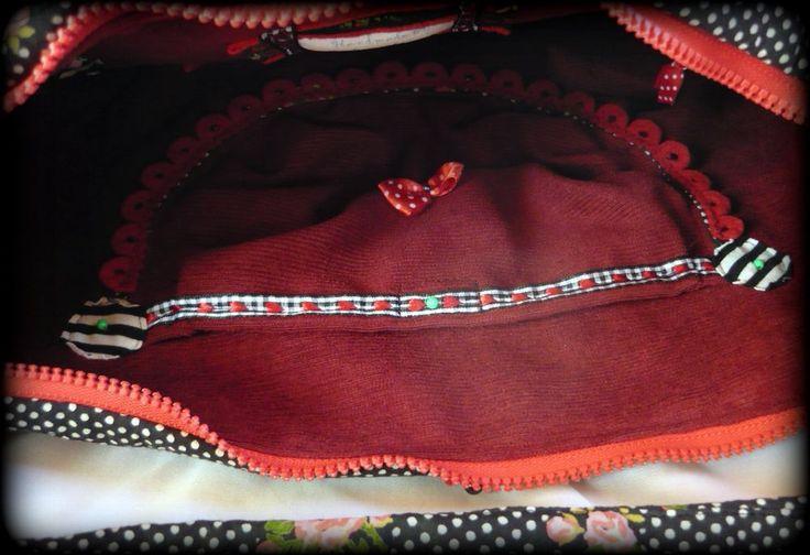 Pöttyös-csíkos bohém táska -Handmade by Judy Majoros