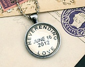 Custom Postmark Necklace - Personalized Postage Necklace - Custom Names Date Location for Wedding Date Anniversary Birthday. $30.00, via Etsy.