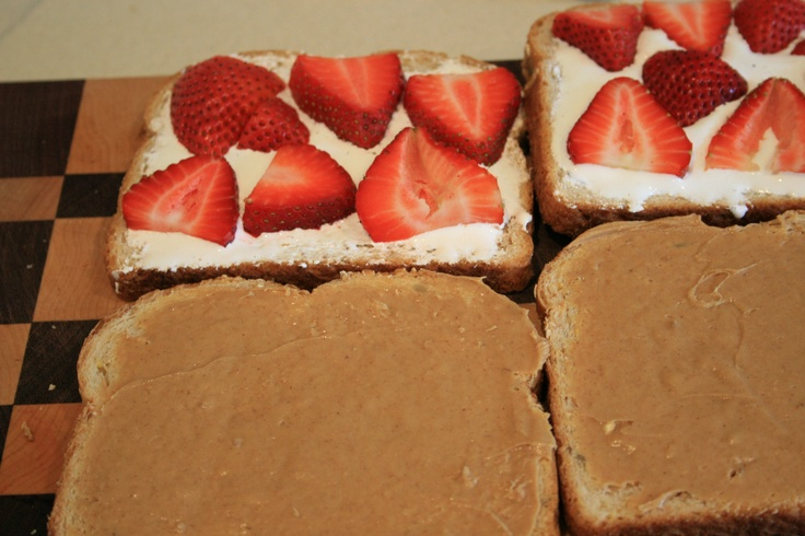Strawberry, Fluff and Peanut Butter Sammies.
