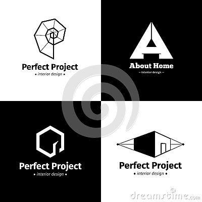 Sistema del vector de cuatro logotipos minimalistic modernos del estudio del diseño interior Logotipos creativos blancos y negros