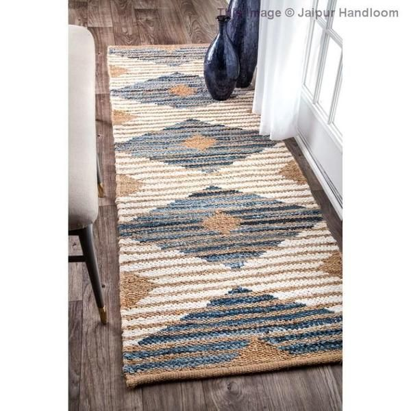 Diamond Geometric Braided Hallway Runner 2 X 10 Feet Bohemian Indoor Outdoor Rugs In 2020 Jute Rug Runner Braided Area Rugs Area Rugs