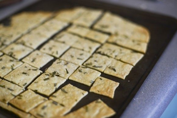 2 c. flour, 2/3 c. water, 1/3 c. olive oil, 1/2 tsp salt.  mix, roll out thin directly onto cookie sheet.  Spread with egg wash and top with your choice of herbs and seasonings.  cut into squares and bake at 400 for 10 min.