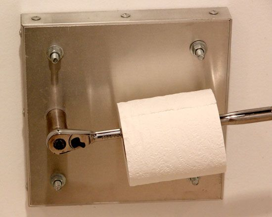 Craftsman tools used in unconventional ways:  Craftsman Ratchet Toilet Paper Holder