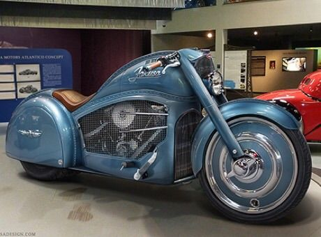 Hungarian designer takes inspiration from a 1930s Bugatti roadster and a modern Harley-Davidson Fat Boy for his bold Atlantico concept motorcycle.