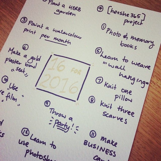 My 16 for 2016 goals list which is going to make the next 12 months epic! Check out the challenge and submit your own on the blog and make some massive achievements in your life. www.acornsandlemonade.com So excited! #goals #motivation #productivity #16for2016 #heandshe #photos #bizgoals #knitting #lists #livenow #livebydesign #acornsnlemonade