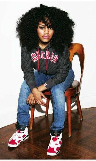 teyana taylor curly hair hoodie swag jeans jordans jordan shoes natural hair black girls killin it