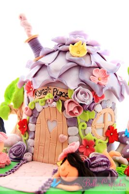 Kyra's rose roof fairy house with magical mushroom garden and woodland trees