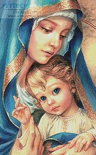 Mother of God cross stitch pattern.