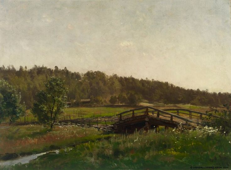 Hjalmar Munsterhjelm (1840-1905) Niittypuron yli johtava silta / Meadow bridge over the creek 1882 - Finland