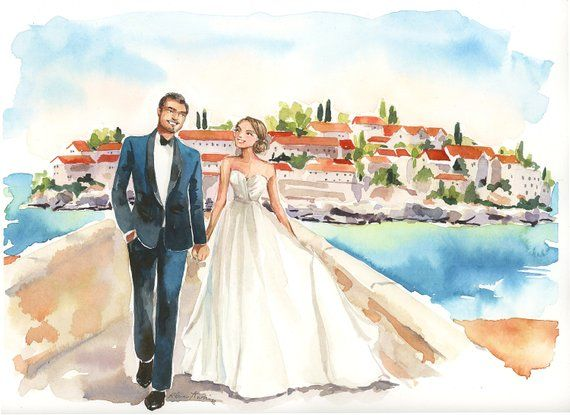 Original Watercolor Wedding Portrait Custom Couple Etsy Custom