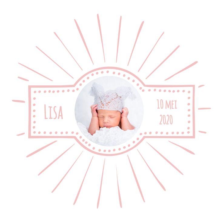 Lief, schattig, hip en retro geboortekaartje met ruimte voor je eerste baby foto's. Makkelijk te maken, lukt altijd. Pas alle teksten aan!