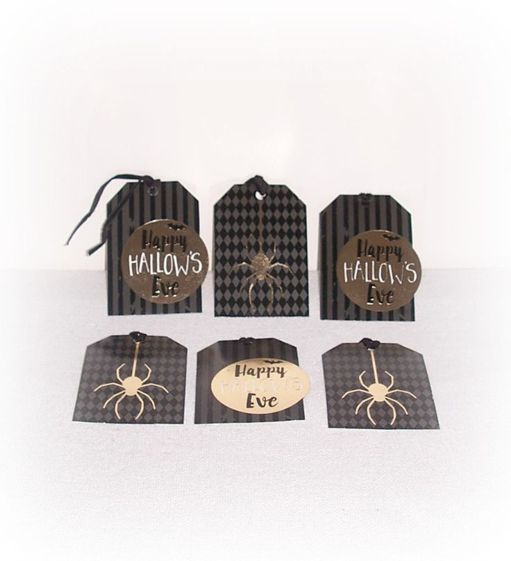 Happy Hallow's Eve Gold Foil Gift Tags Black Charcoal Spider Bat Foil Hang Tags Party Halloween Favor Gift Tags 6 Qty 4 Inch Gift Tags by ICreateAndCollect on Etsy