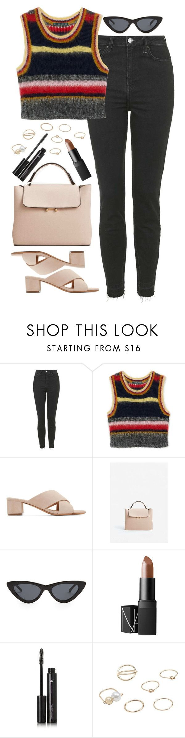 """""""Untitled #619"""" by lindsjayne ❤ liked on Polyvore featuring Topshop, Mansur Gavriel, MANGO, Le Specs, NARS Cosmetics and B The Eyebrow Experts"""