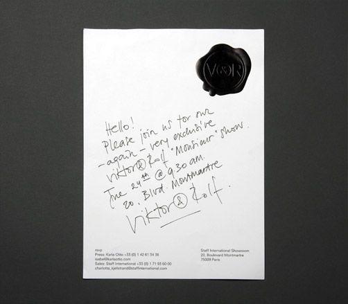 Viktor & Rolf S/S 2011 invite. Hand written note with the Viktor & Rolf seal