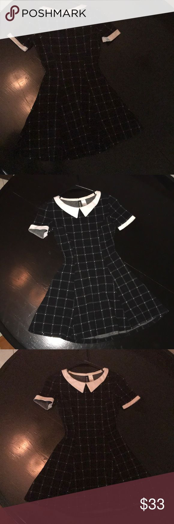 H&M Wednesday Addams Dress H&M black and white plaid short sleeve dress with collar and pleated skirt H&M Dresses