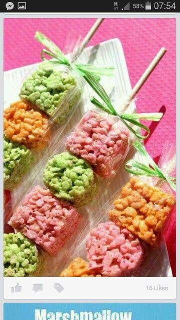 Rice crispie treats op stokkie