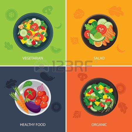 food web banner flat design. vegetarian , organic food, healthy..