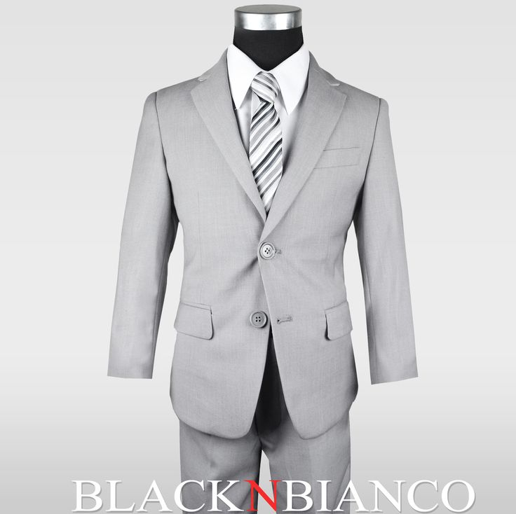 Black N Bianco Ring Bearer, Page Boy, First communion boys slim suit in gray.