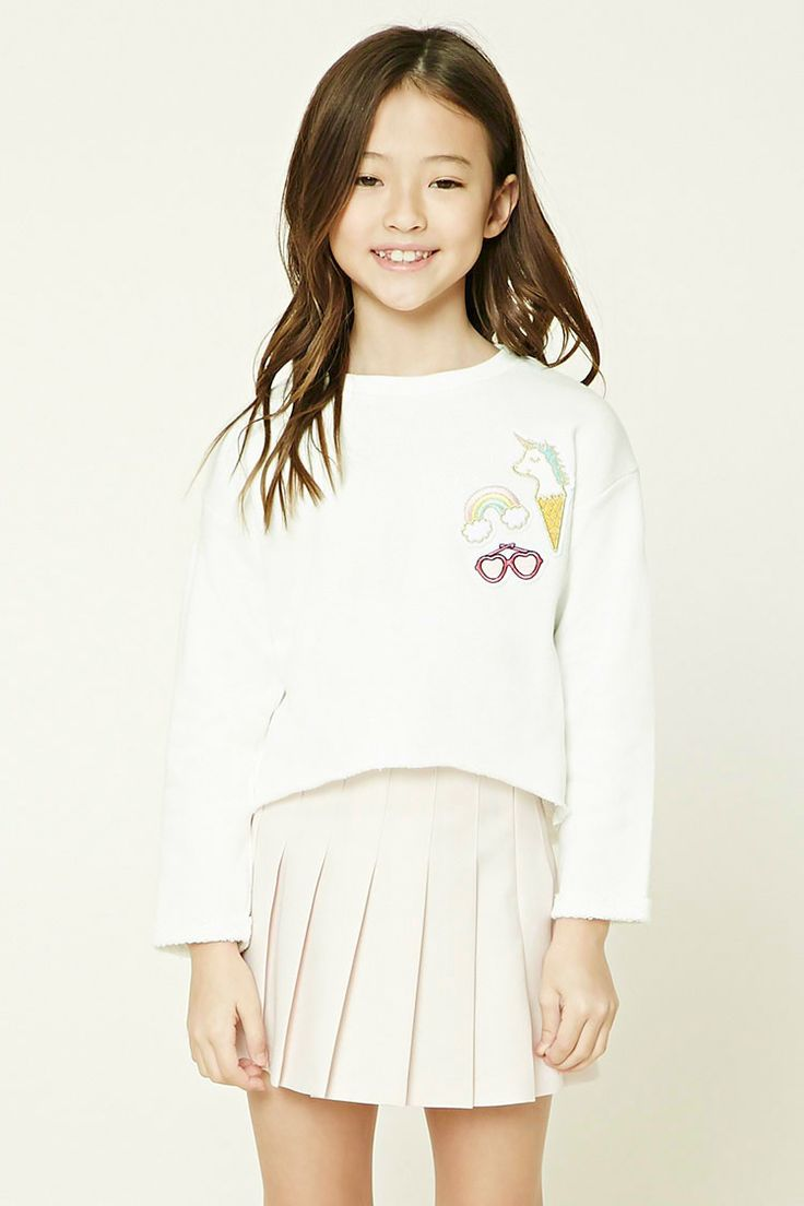 Forever 21 Girls - A knit top featuring a unicorn, heart-shaped sunglasses, and rainbow patch graphics on the front, a raw-cut hem, French terry cloth lining, ribbed trim, a round neckline, and long cuffed sleeves.