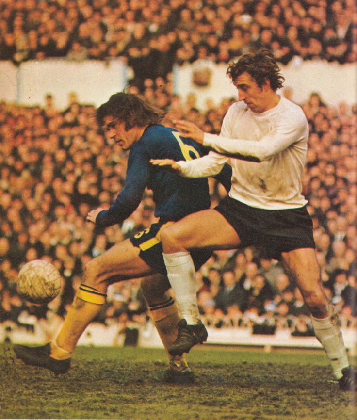 13th March 1971. Spurs centre forward Martin Chivers tussling with Chelsea defender David Webb.