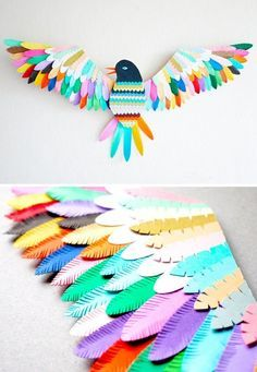 Paper bird sculpture -- based on a bird in the show.. This would require a lot of prep and not sure how it would relate to prints.. but this would be REALLY cool for someone to display in their home.