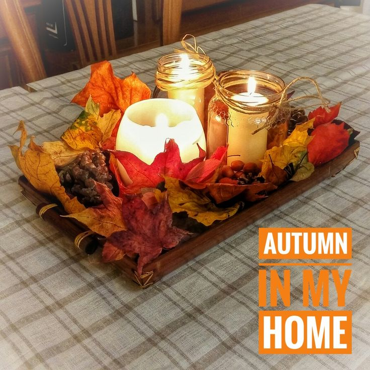 #foliage on my #table: that's my #autumn #centerpiece. make with #leaves #candle #lights #nuts