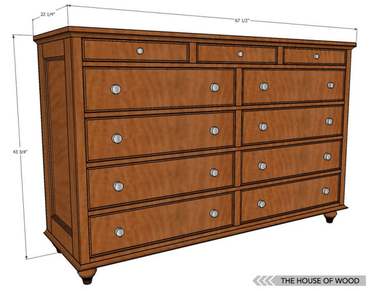12 Free DIY Woodworking Plans for Building Your Own Dresser: The House of Wood's Free 11 Drawer Dresser Plan