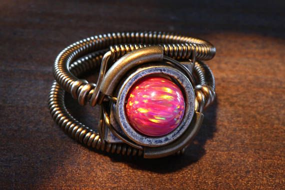 Steampunk Jewelry  Ring  Ruby Red LAB created OPAL