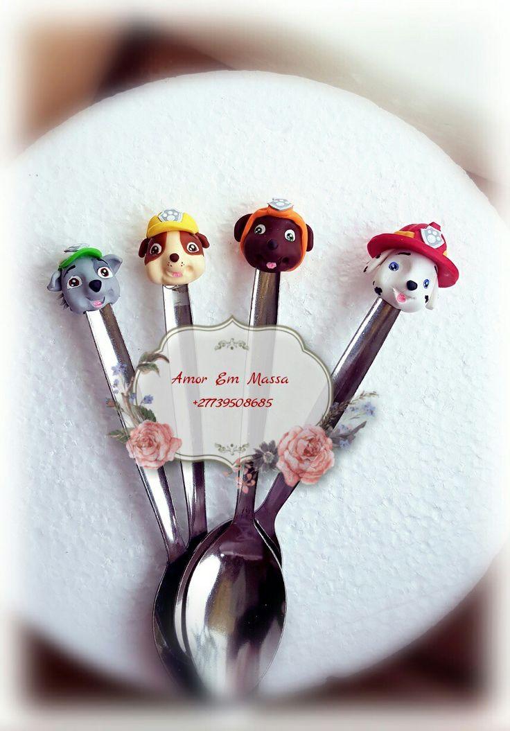 Paw patrol spoons #Amoremmassa#coldporcelain#handmade#thankfultoGod#