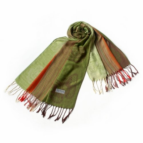 Pa-a64-1 Light Green Base Butterfly & Flowers Patterns Elegant Soft Woven Pashmina/Shawl/Scarf