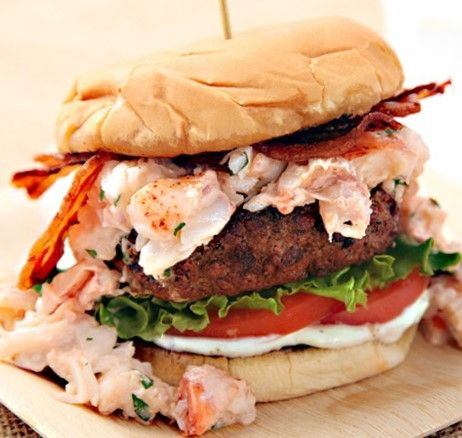 Surf N' Turf Burger (Grilled Burger With Lobster and Bacon) Recipe