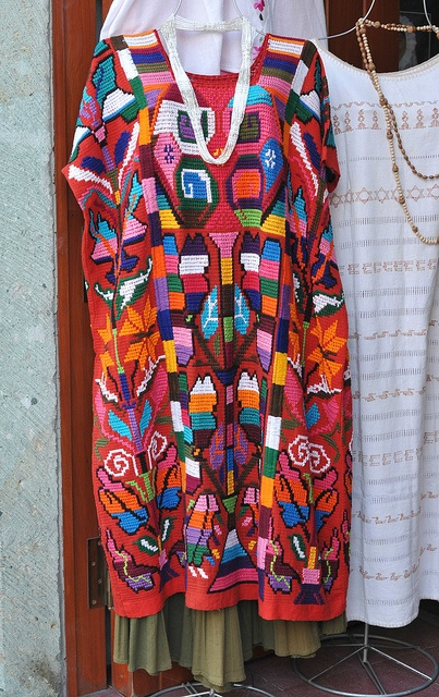 Oaxaca Mexico Huipil This very colorful red huipil was made in the Chinantec community of Valle Nacional in the north of Oaxaca, Mexico