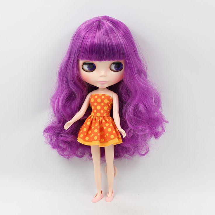 Bb ню Блайт куклы bjd 1/6 b женский кукла большие глаза фиолетовый цвет длинные волосы с челкой изменение макияж куклы для девушки