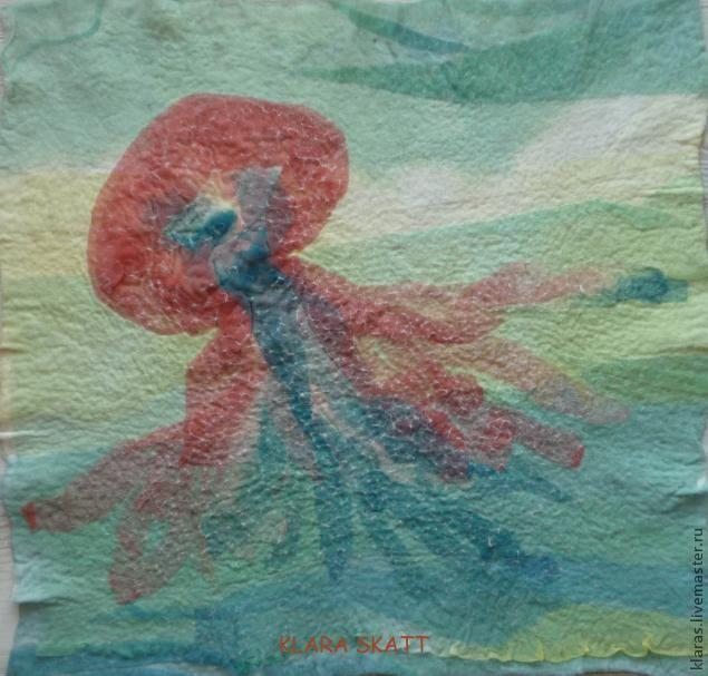 Тюлевая акварель на войлоке - Ярмарка Мастеров - ручная работа, handmade