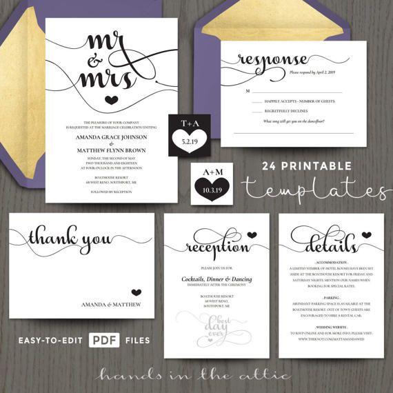 Best 25 diy wedding invitation kits ideas on pinterest diy diy wedding invitation kits mr and mrs printable do it yourself templates editable pdf black and solutioingenieria Gallery