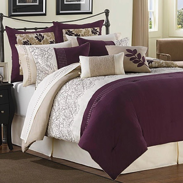 Best 25 plum comforter ideas on pinterest plum for Purple and taupe bedroom