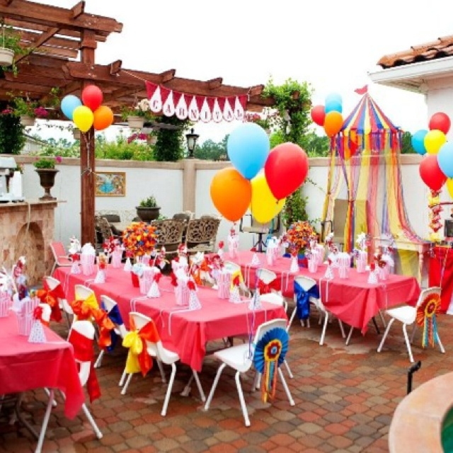 Carnival Themed Party Set Up Primary Colors