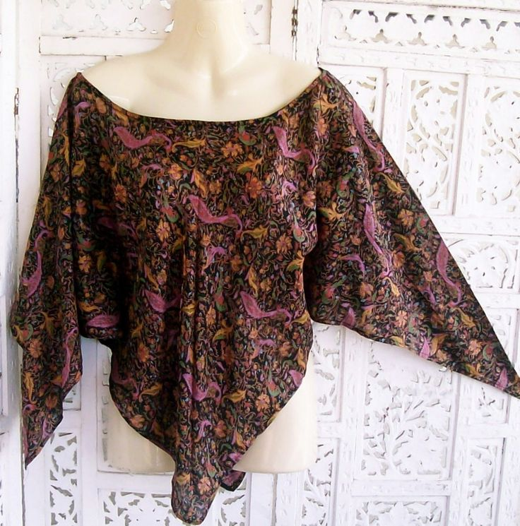 Vintage PURE SILK Boho RARE PEACOCK INDIE Top / Poncho / Caftan XS to S