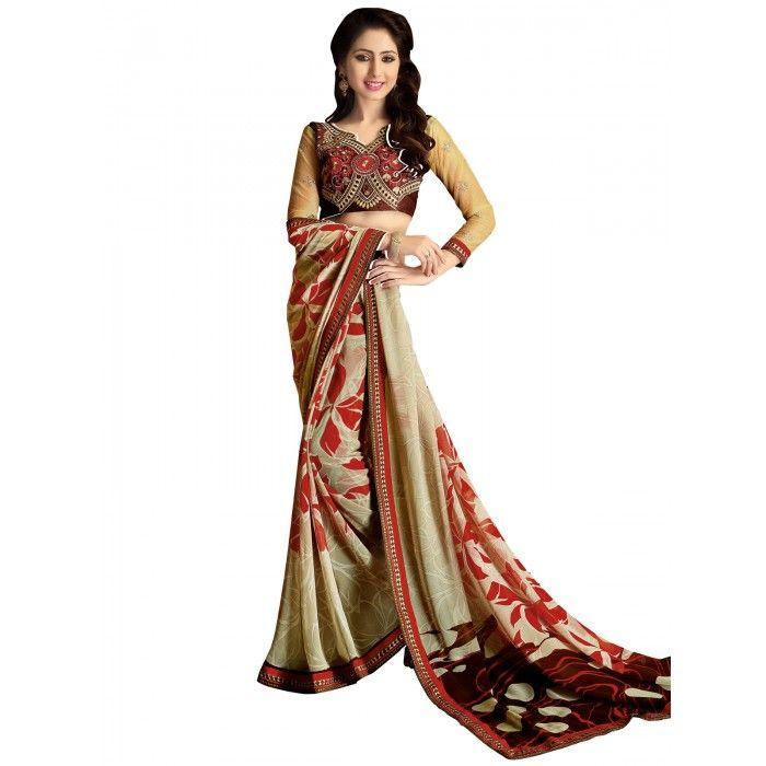 Stunning Brown & Red Printed Saree on SmartDeals4u.com