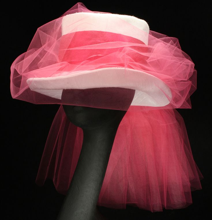 Tess BR144-002 White Silk and Hot Pink Top Hat from Maggie Mae Designs