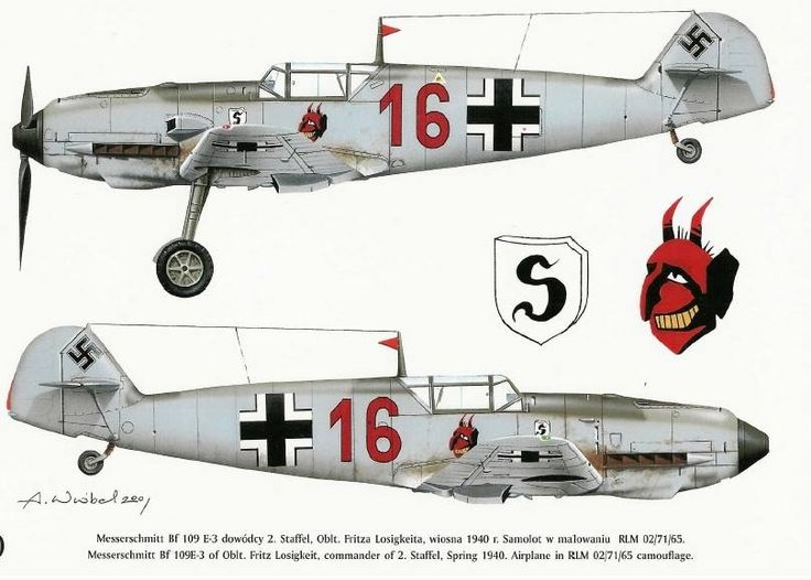 Major Franz Losigkeit Messerschmitt Bf 109E-3 artwork
