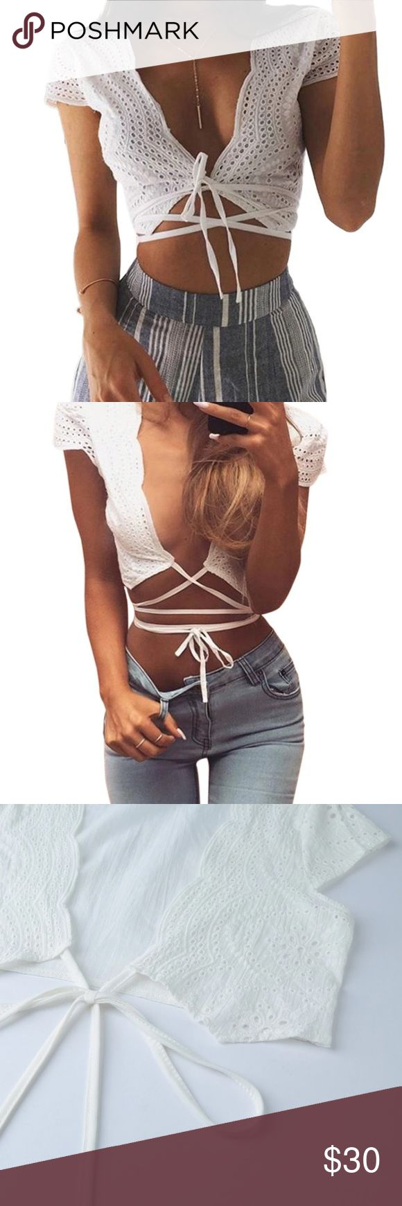 """White eyelet tie around body crop top String is 62"""" long so you can tie it around however you'd like.  Offers will be considered or countered with the lowest price.  Brand new!  Comfortable!🦋 Not Free people! Boutique. Free People Tops Crop Tops"""