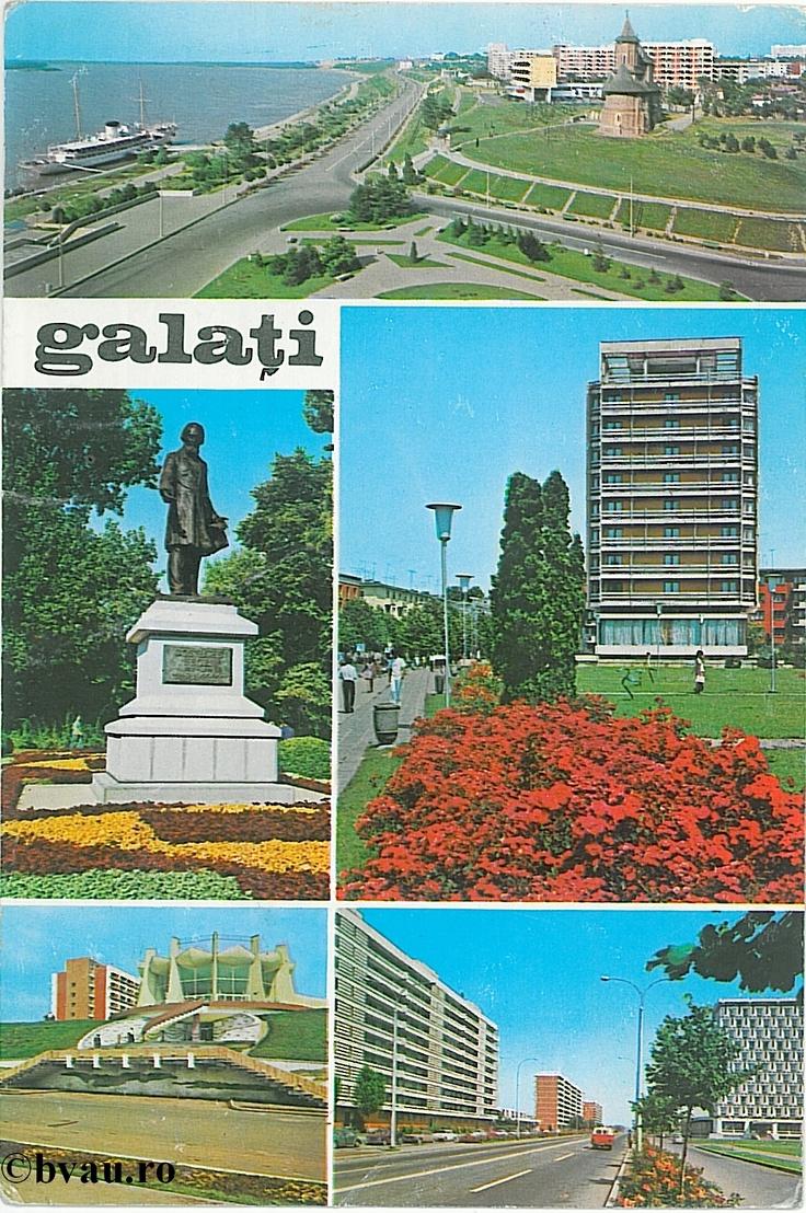 """Colaj de imagini, Galati, Romania, anul 1973.  Imagine din colecţiile Bibliotecii Judeţene """"V.A. Urechia"""" Galaţi."""