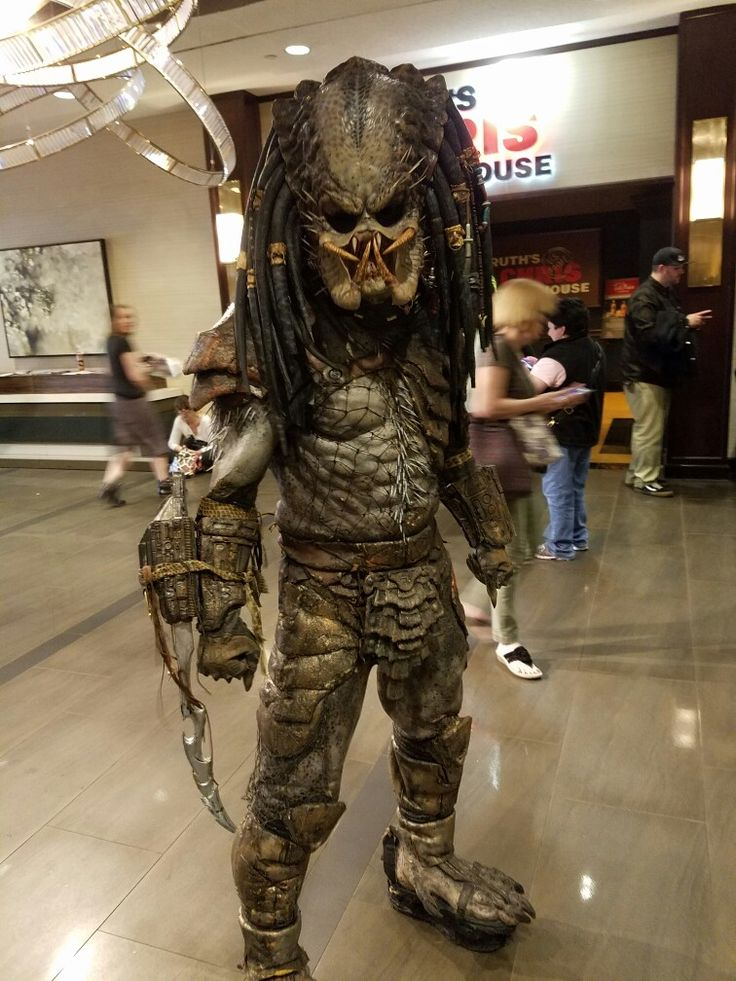 An attendee at the Chiller Theatre Convention at the Hilton Parsippany Hotel in Parsippany, New Jersey cosplayed as a screen-perfect Predator from the Predator movie series.