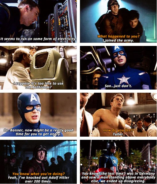 I feel like Stark gets all the credit for one liners, but the Cap has some good ones!
