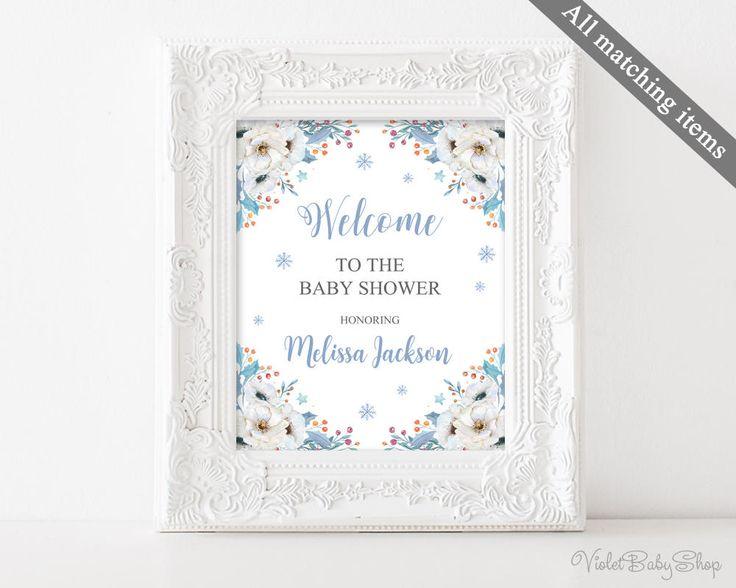 Winter Baby Shower Sign. Welcome Baby Shower Sign. Printable Welcome Sign. Deer Snow Blue Flower Blush Floral Baby Shower Sign. Download by VioletBabyShop on Etsy