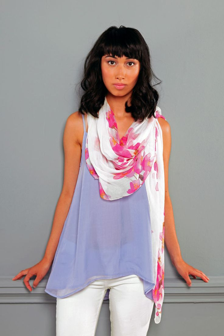 These beautiful floral designer scarves from Bluebellgray are so soft and luxurious. Made from a fine blend of 10% cashmere and 90% modal they are a light summer weight that is semi transparent. At 135 x 135cm they are a large scarf that can be worn in lots of different ways. The scarf will make a beautiful unique gift for women. Available online from www.gorgeouscreatures.co.nz